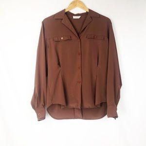Vintage Christian Dior | brown silk button up